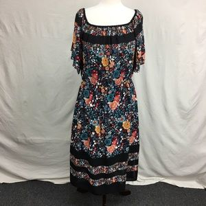 LOFT Black Floral Print Peasant Dress